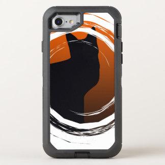 Halloween Black Cat in Spiral Design OtterBox Defender iPhone 7 Case