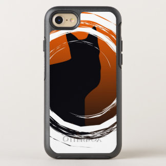 Halloween Black Cat in Spiral Design OtterBox Symmetry iPhone 7 Case