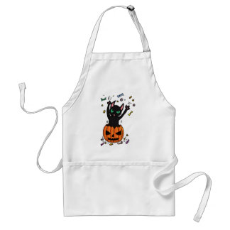 Halloween Black cat jumping out of a pumpkin Adult Apron