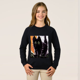 Halloween Black Cat Kid's Sweatshirt