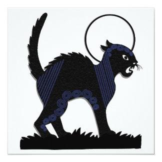 Halloween Black Cat & Moon - 7 Blank Flat Card 13 Cm X 13 Cm Square Invitation Card