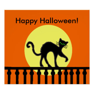 Halloween Black Cat Moon Fence Poster