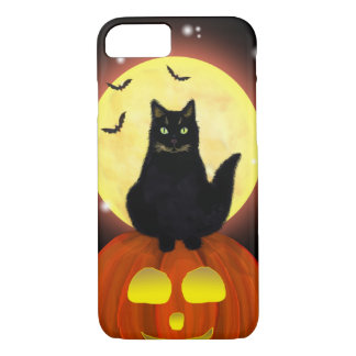 Halloween Black Cat on pumpkin iPhone 8/7 Case