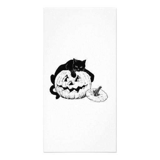 Halloween Black Cat on Pumpkin Photo Card Template