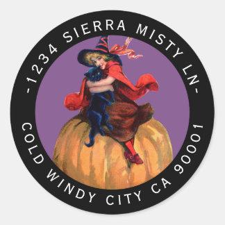 Halloween Black Cat Pretty Witch Return Address Classic Round Sticker