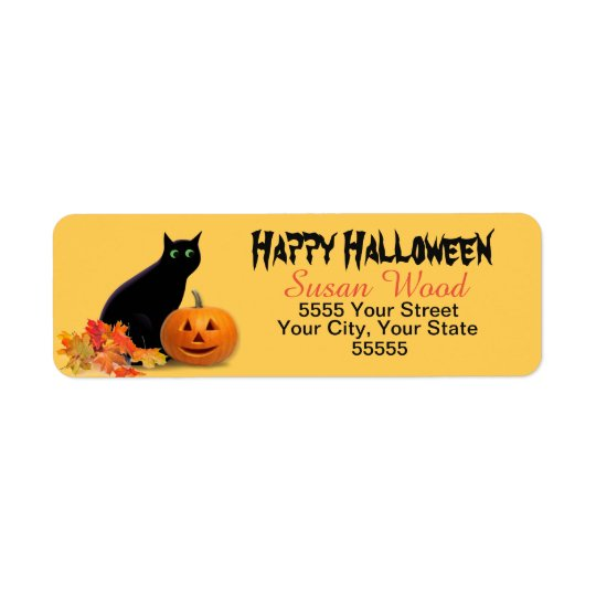Halloween Black Cat Return Address Labels