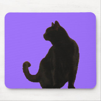 Halloween Black Cat Silhouette Mouse Mat