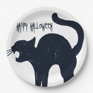 Halloween Black Cat Silhouette Paper Plate