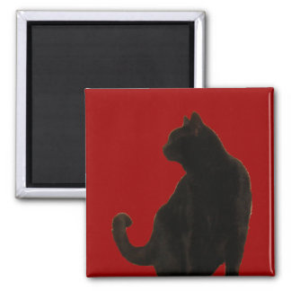Halloween Black Cat Silhouette Square Magnet