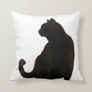 Halloween Black Cat Silhouette Throw Pillow