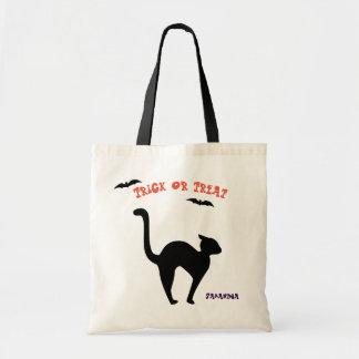 Halloween Black Cat Trick Or Treat Tote Bag