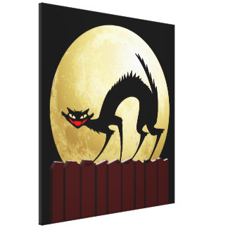 Halloween Black Cat with Full Moon Gallery Wrapped Canvas