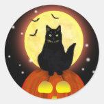 Halloween Black Cat with Pumpkin Round Sticker