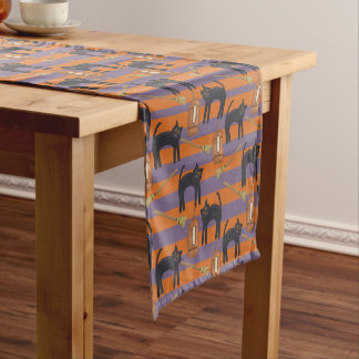Halloween, Black Cats and Brooms Table Runner