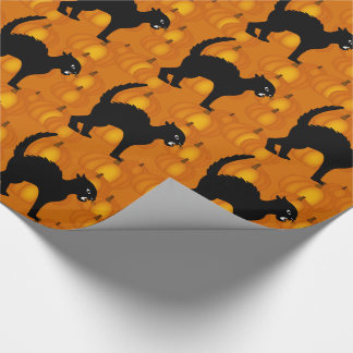 Halloween Black Cats & Pumpkins Wrapping Paper 2