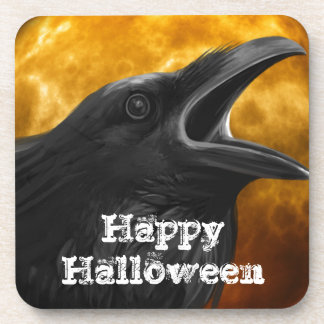 Halloween Black Crow Beverage Coasters
