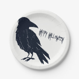 Halloween Black Crow Silhouette Paper Plate