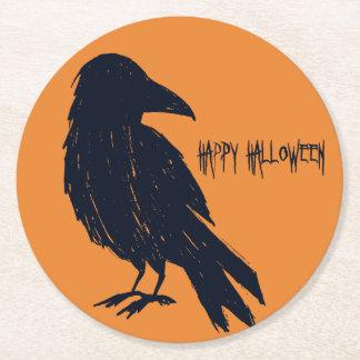 Halloween Black Crow Silhouette Round Paper Coaster