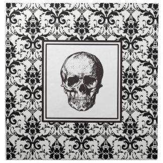 HALLOWEEN Black Gothic Damask Pattern Skull Napkin