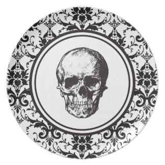 HALLOWEEN Black Gothic Damask Pattern Skull Plate
