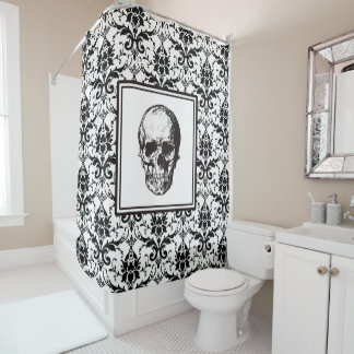 HALLOWEEN Black Gothic Damask Pattern Skull Shower Curtain