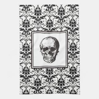 HALLOWEEN Black Gothic Damask Pattern Skull Towels