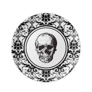 HALLOWEEN Black Gothic Style Damask Pattern Skull Plate