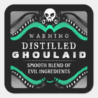 Halloween Black Green White Drink or Treat Label Sticker