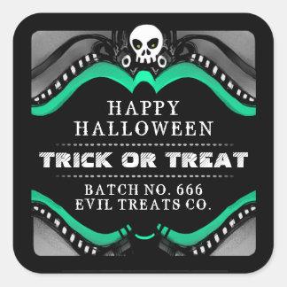 Halloween Black Green & White Treat Label Square Sticker
