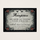Halloween Black & Grey Red Roses Wedding Reception Business Card