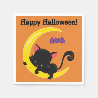 Halloween Black Kitten on Moon with Bat Disposable Serviettes