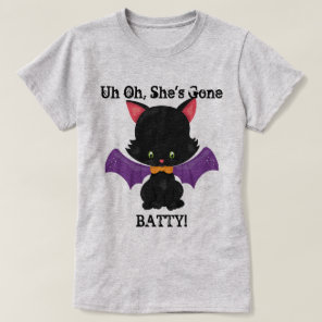 Halloween Black Kitten with Bat Wings T-Shirt
