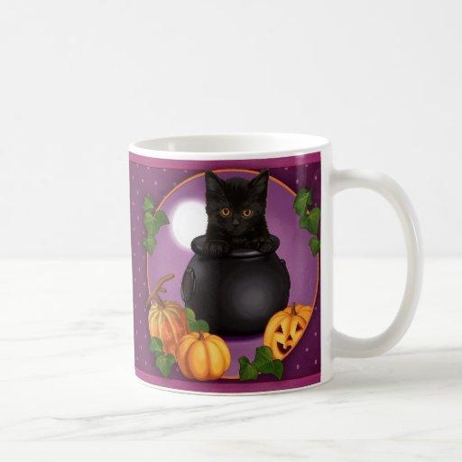 Halloween Black Kitty Coffee Mugs