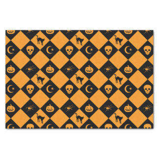 Halloween Black Orange Diamond Pattern Tissue Paper