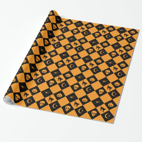 Halloween Black Orange Diamond Pattern Wrapping Paper