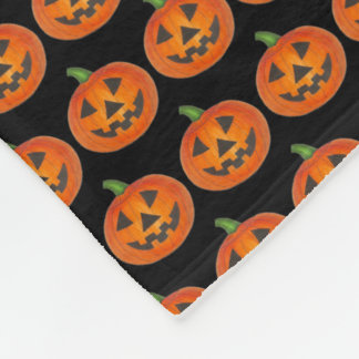 Halloween Black Orange Pumpkin Jack o' Lantern Fleece Blanket