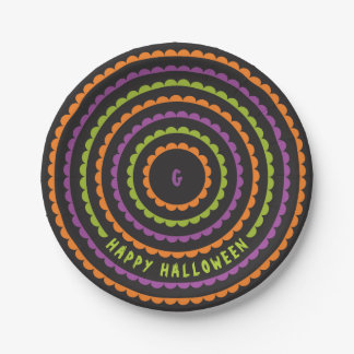 Halloween Black Orange Purple and Green Scallop 7 Inch Paper Plate
