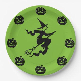 Halloween - Black Pumpkins & Witch Paper Plate