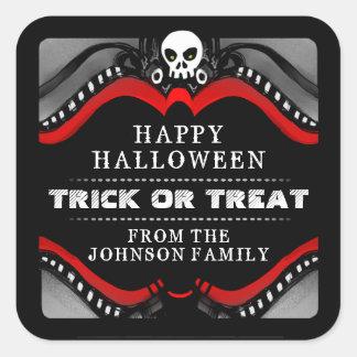 Halloween Black Red & White Treat Label Square Sticker