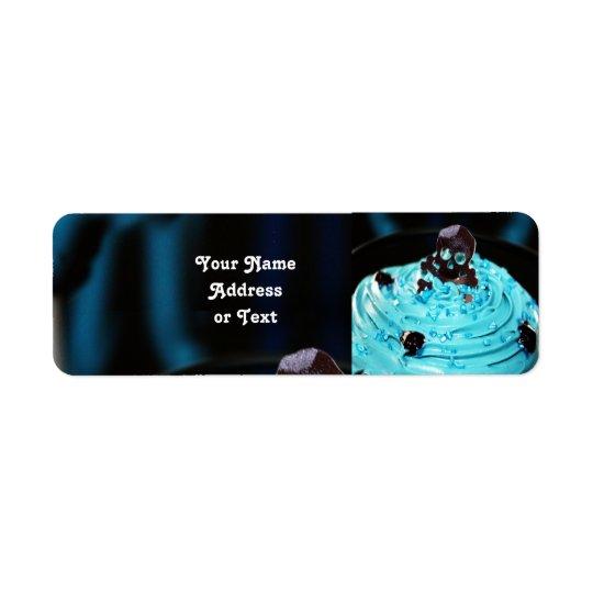 Halloween Black Skull on Blue Icing Cupcake