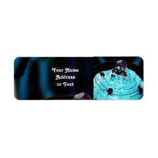 Halloween Black Skull on Blue Icing Cupcake Return Address Label