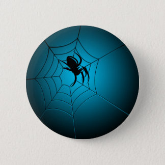 Halloween Black Spider on Web 6 Cm Round Badge