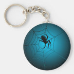 Halloween Black Spider on Web Key Chain