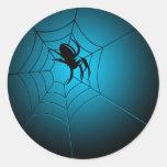 Halloween Black Spider on Web Round Sticker
