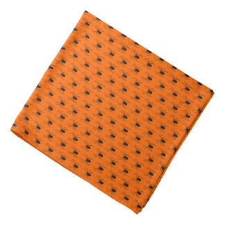 Halloween Black Spiders on Orange Bandana