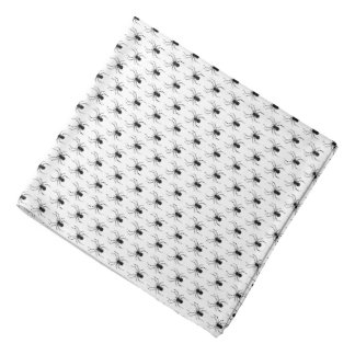 Halloween Black Spiders on White Bandana