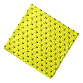 Halloween Black Spiders on Yellow Bandana