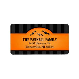 Halloween Black Stripes & Orange Labels with Bats