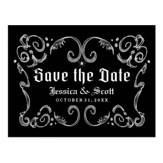 Halloween Black White Gothic Scroll Save the Date Postcard