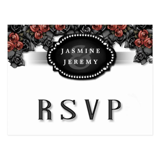 Halloween Black White Red Rose Matching RSVP Postcard